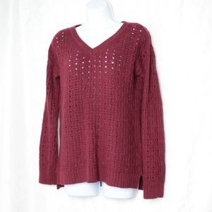 Sweaters - Anne Klein Burgundy Open Knit V Neck Sweater Med
